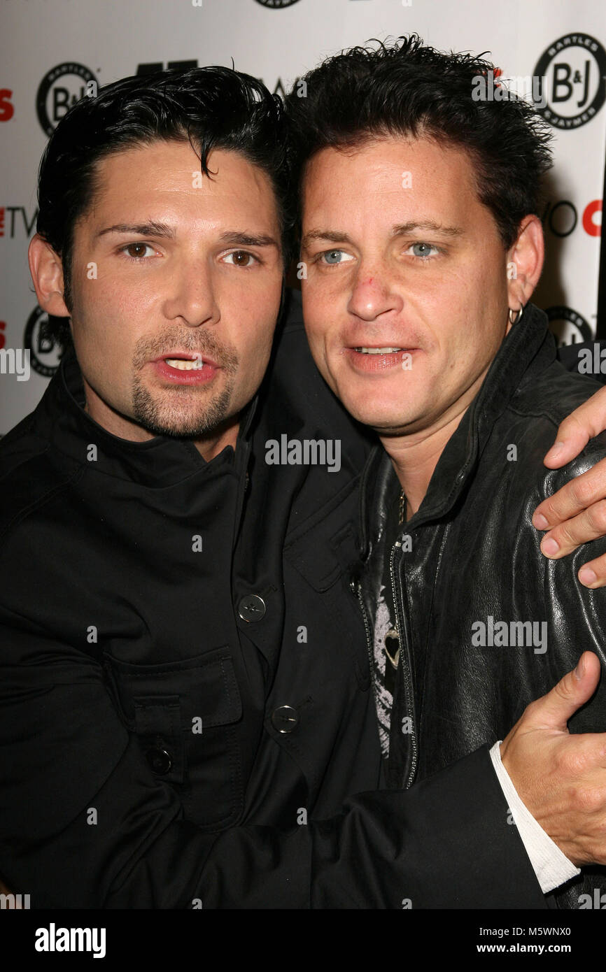 Corey Feldman and Corey Haim pictured at 'The Two Coreys' Premiere Party in Hollywood, California, July - Stock Image
