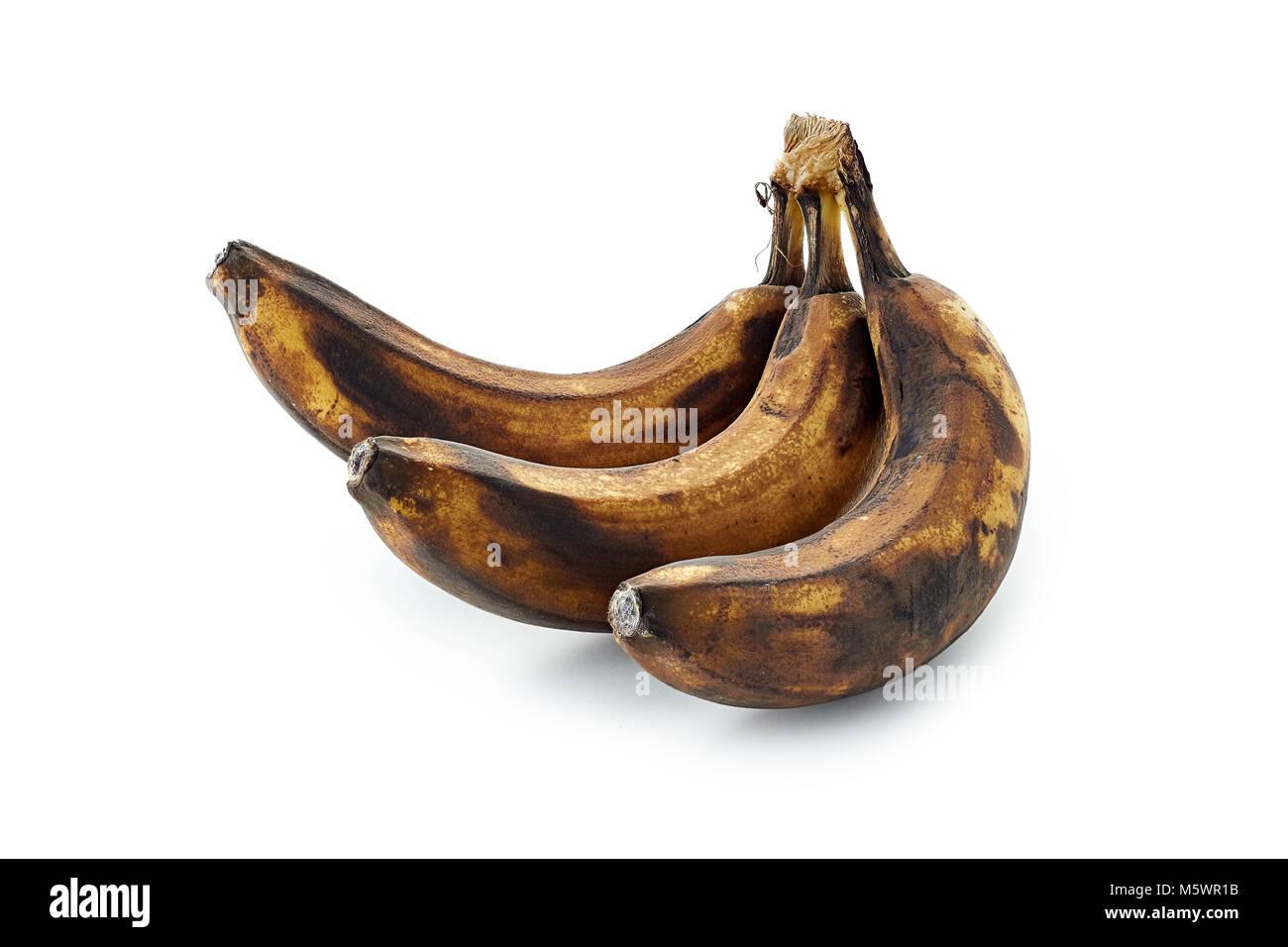 spoiled banana isolated on white background - Stock Image