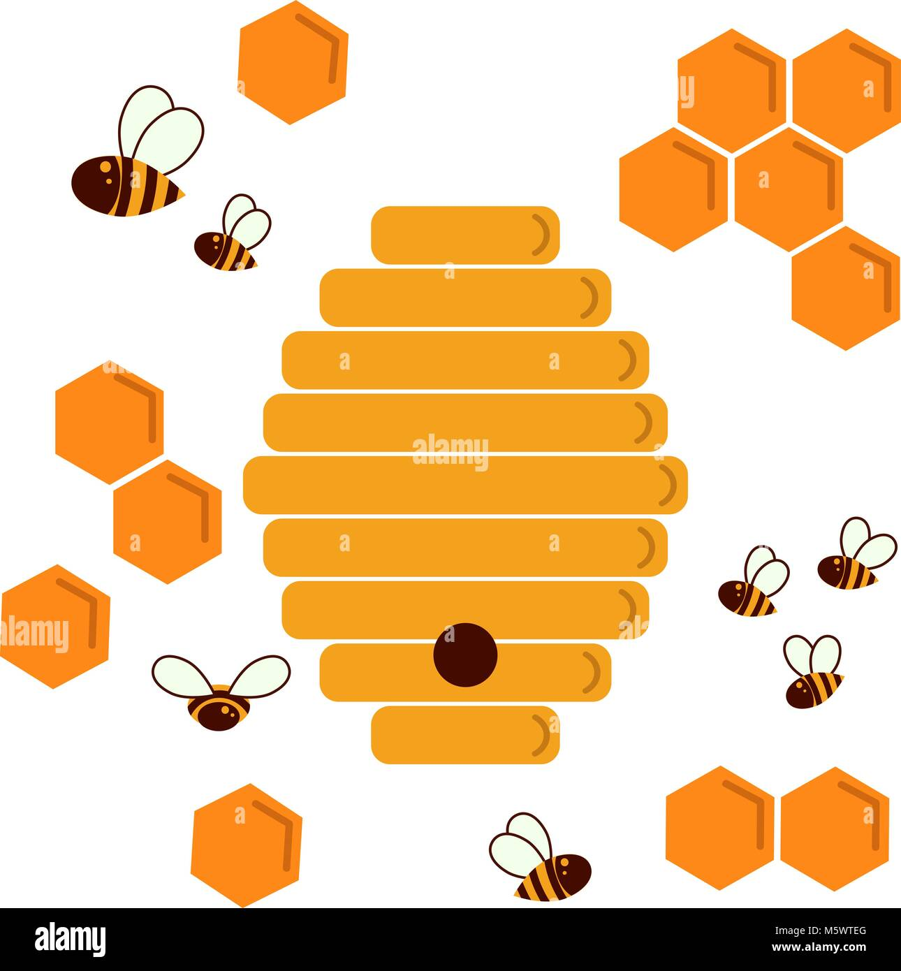 Icon bee hive. Hexagon natural honey struct - Stock Vector