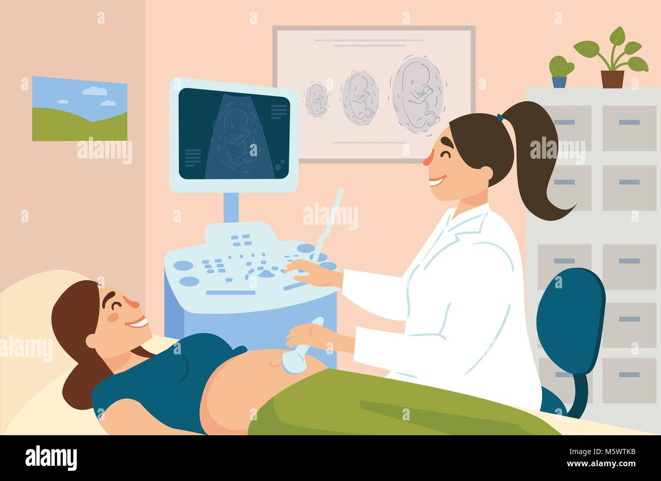 Ultrasonography of pregnant woman in hospital - Stock Image