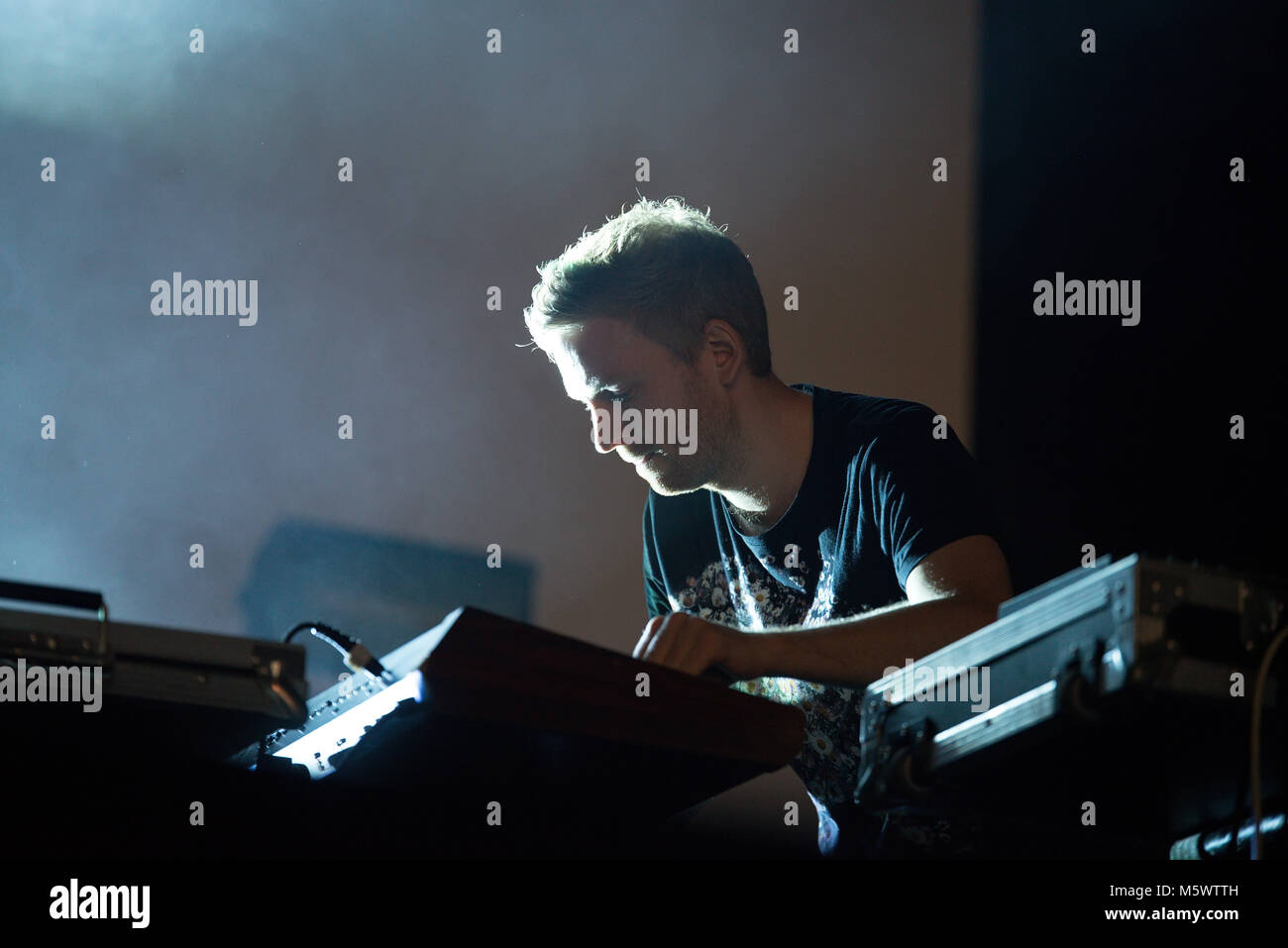 BARCELONA - SEP 23: Kiasmos (electronic band) perform in concert at BAM Festival on September 23, 2017 in Barcelona, - Stock Image