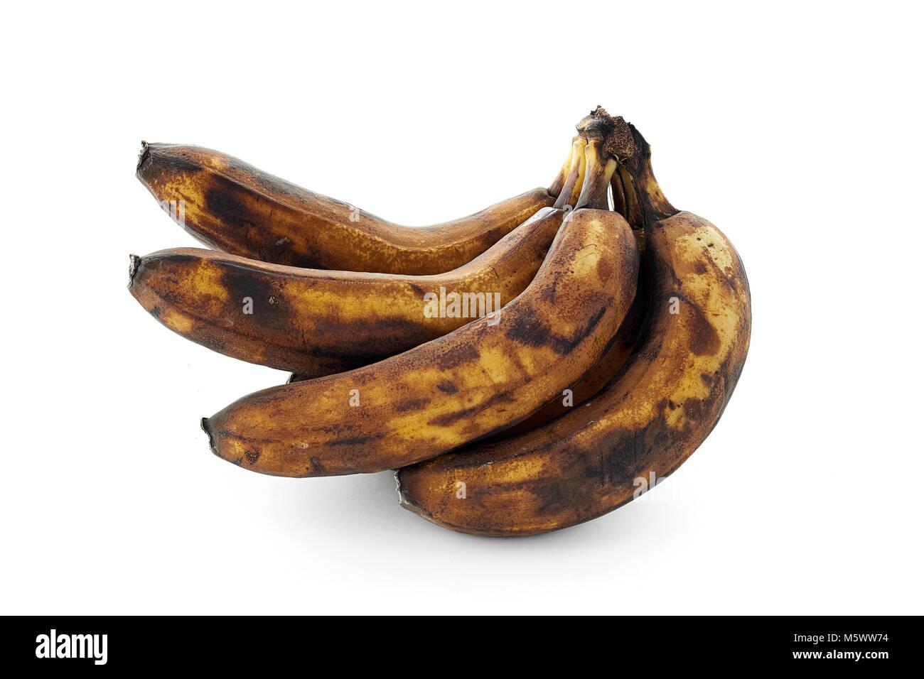 spoiled banana isolated on white background isolated - Stock Image