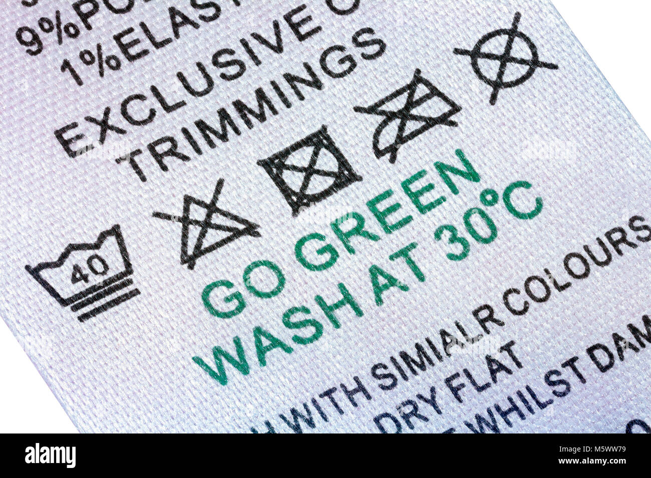 Laundry Clothes Washing Care Label 40 Wash Gentle Cycle Do Not