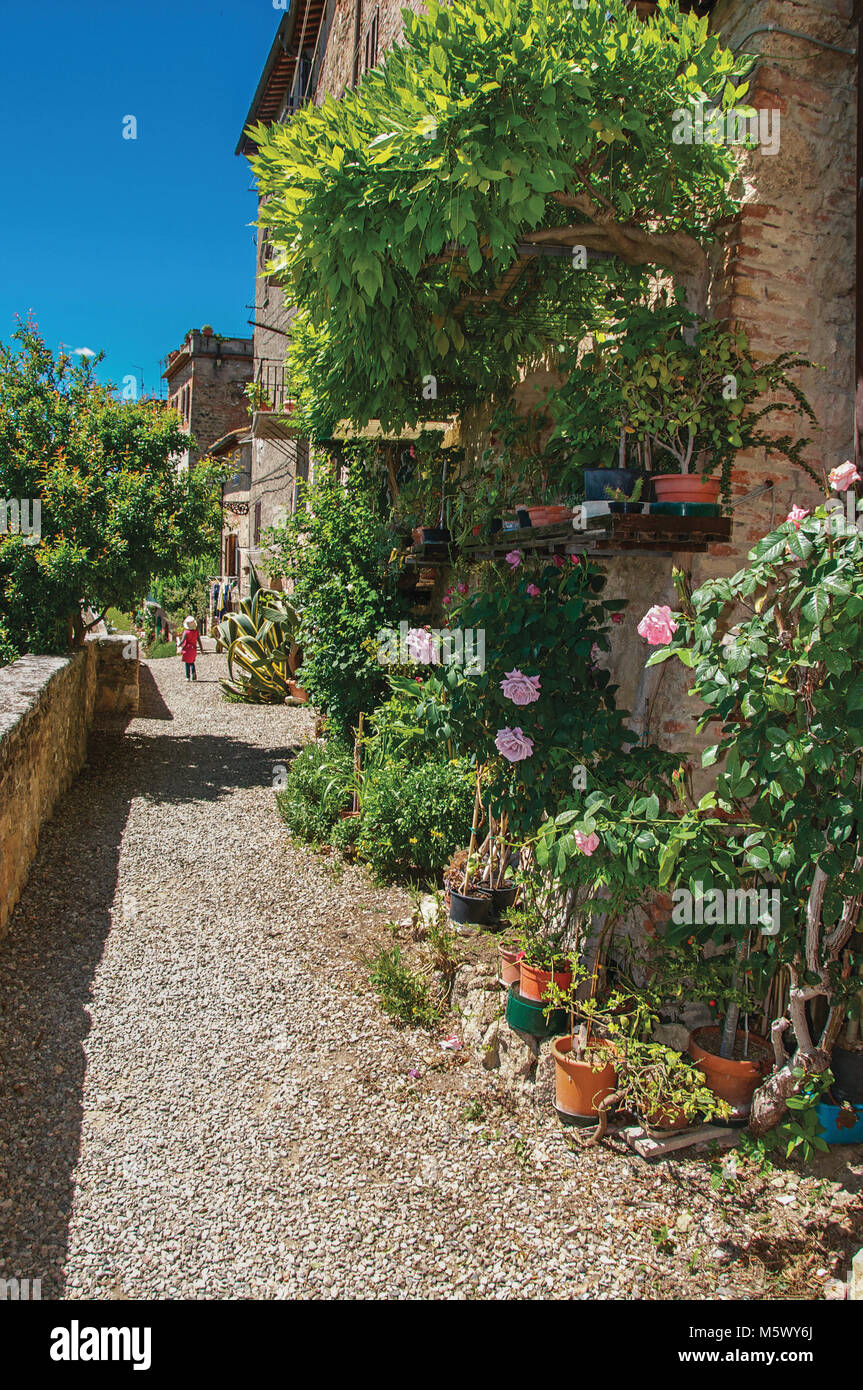 Street View With Pebble Walkway, Flowers And Little Girl At The Town Of  Colle Di