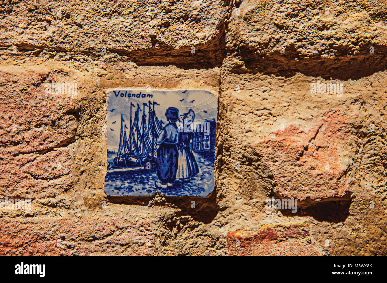 Close-up of ceramic tile attached to the wall in Colle di Val d Elsa. A Historical town, famous by its crystal production. Stock Photo