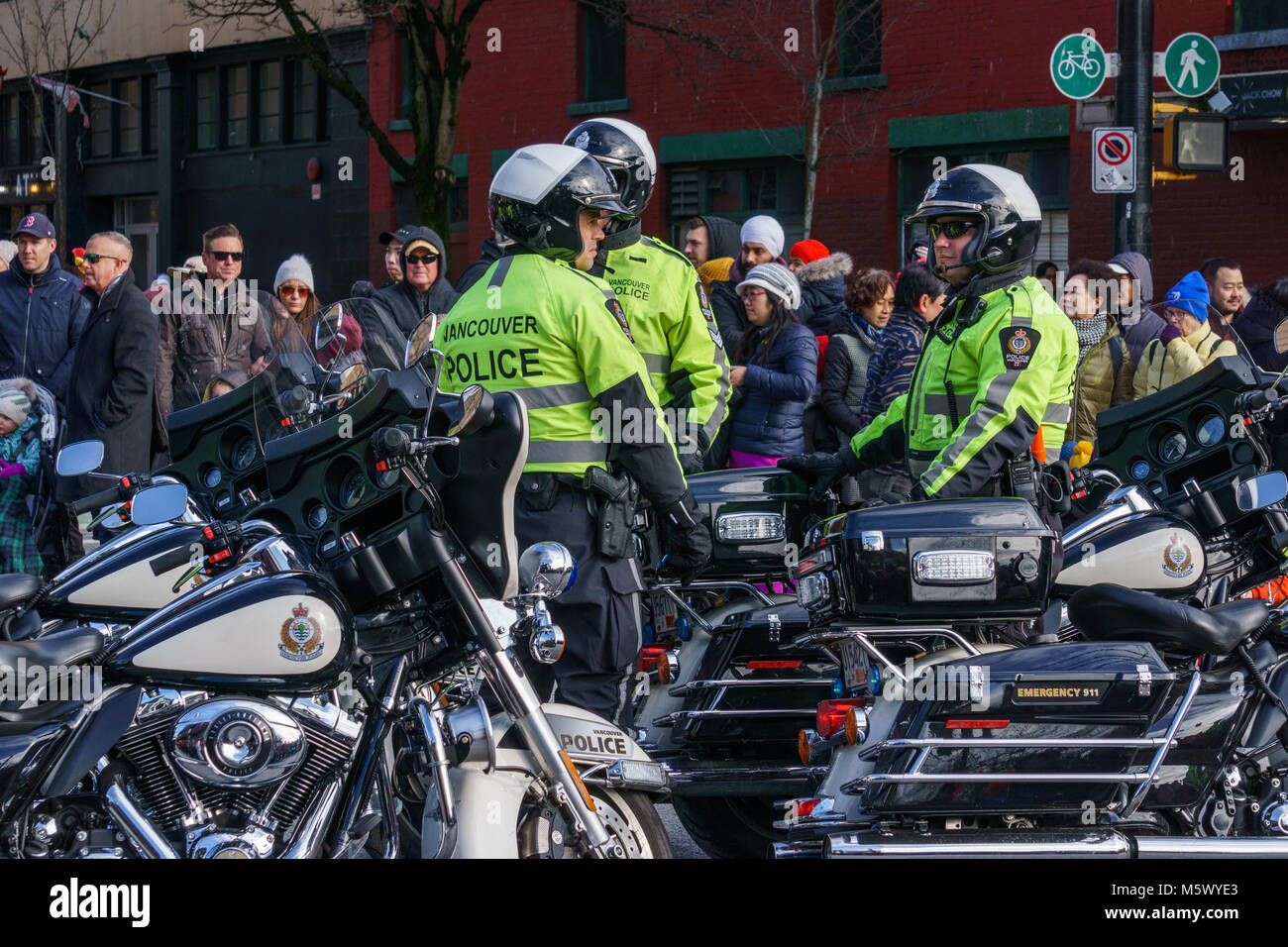 Vancouver Police Department Stock Photos Accessories Vpd 3 Canada February 18 2018 Motocycle Officers At Chinese