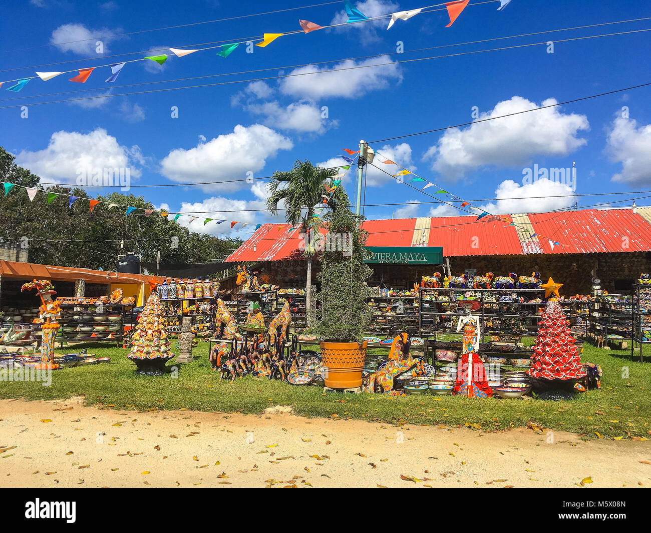 Coba, Mexico - February 4,2018: The local colorful tourist shop selling traditional mexican souvenirs. - Stock Image