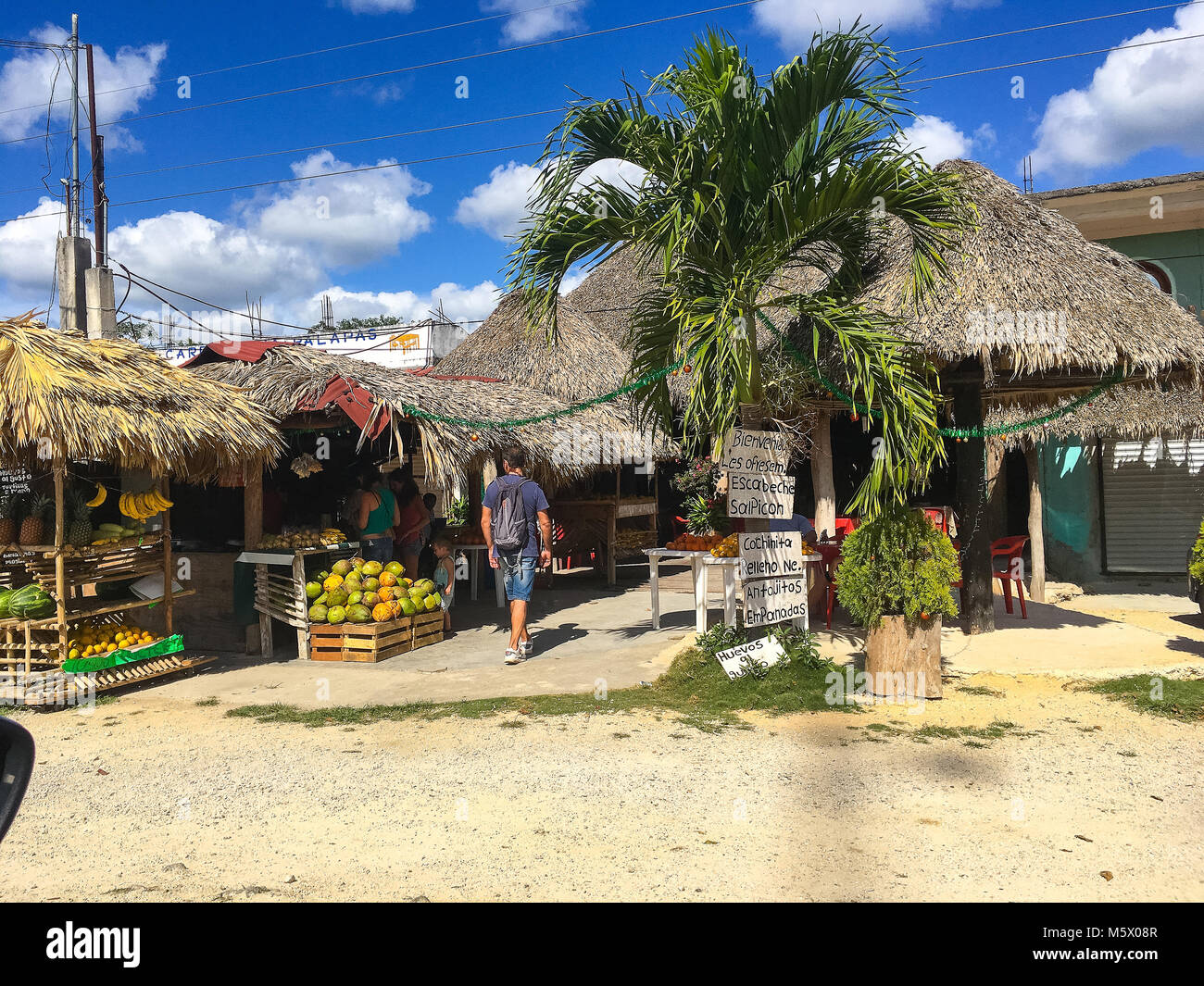 Coba, Mexico - February 4,2018: The local colorful tourist shop selling traditional mexican souvenirs. Stock Photo