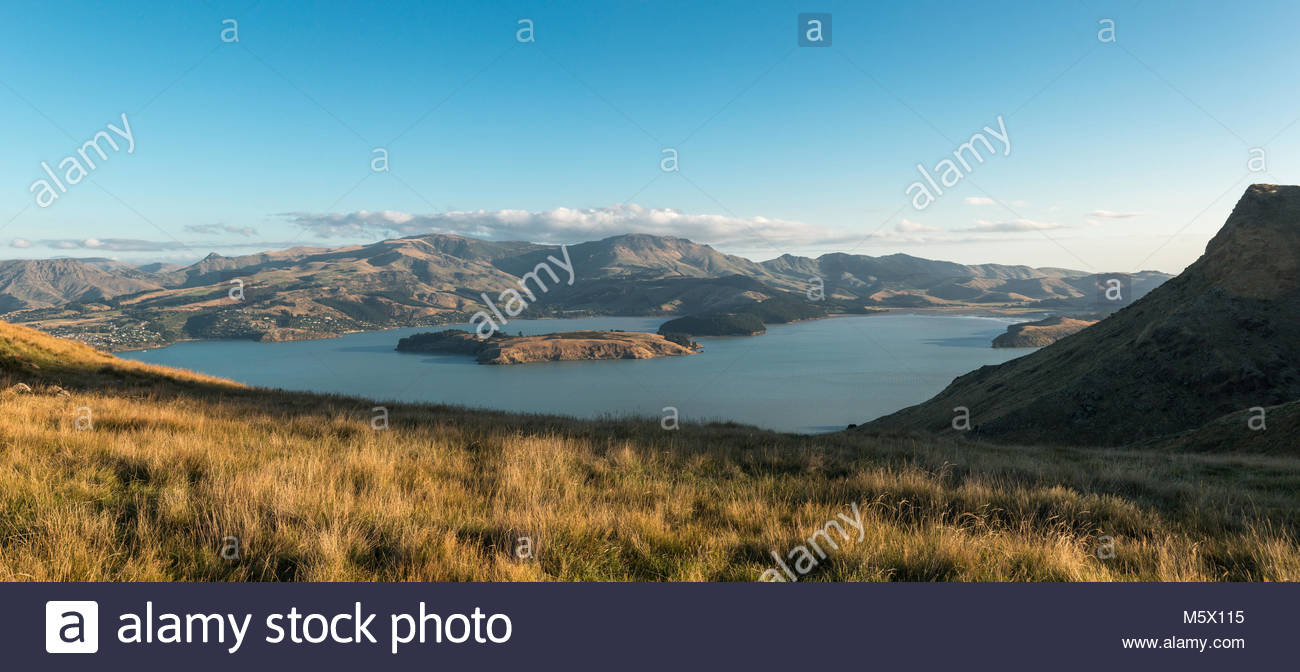 View to Littleton Harbor from Port Hills, Canterbury, New Zealand - Stock Image