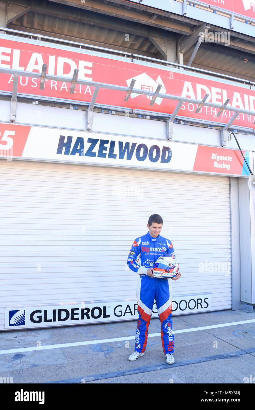 Adelaide, Australia. 27th Feb, 2018. 22 year old Supercar racing driver Todd Hazelwood who will compete in   the - Stock Image