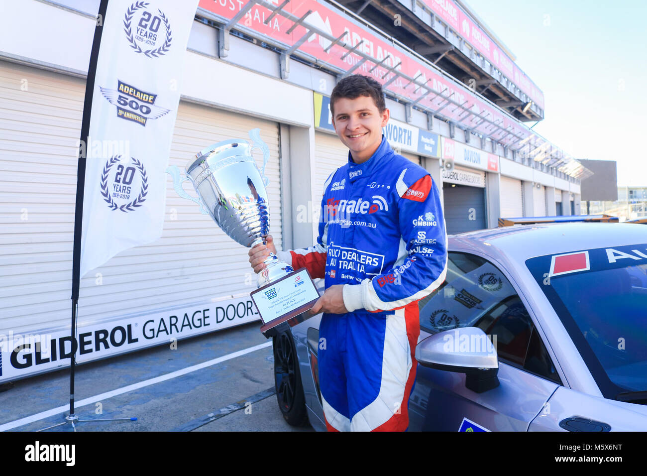 Adelaide, Australia. 27th Feb, 2018. 22 year old rookieSupercar racing driver Todd Hazelwood who will compete in - Stock Image