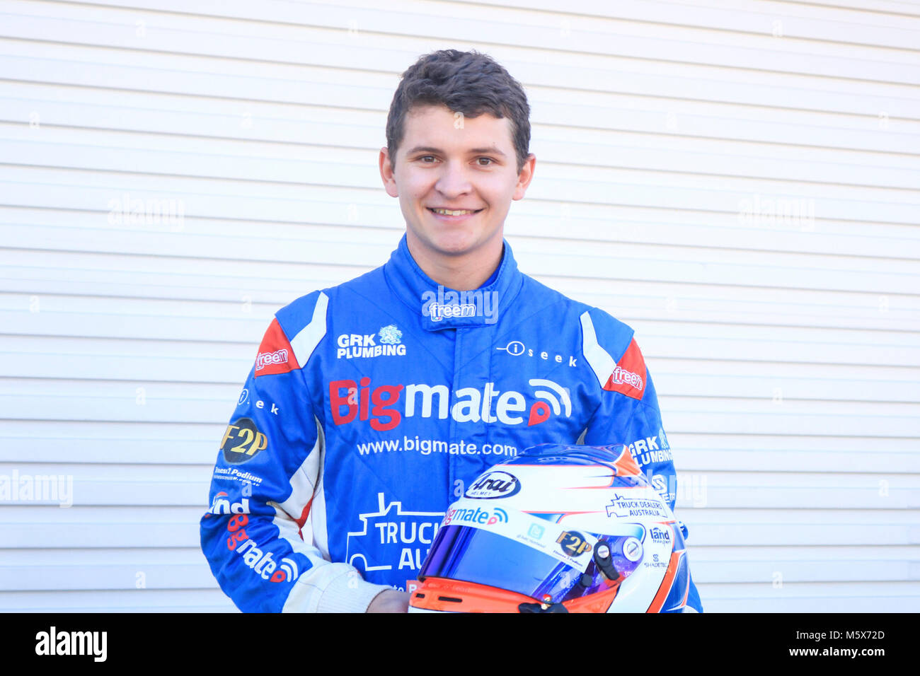 Adelaide, Australia. 27th Feb, 2018. 22 year old Rookie Supercar racing driver Todd Hazelwood who will compete in - Stock Image