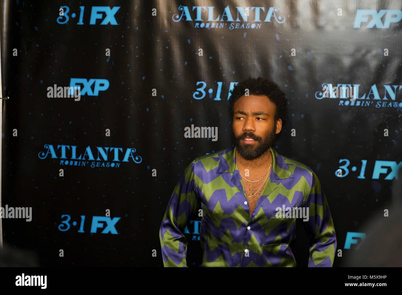 Atlanta, USA. 26th Feb, 2018. Actor/recording artist Donald Glover attends 'Atlanta Robbin' Season' - Stock Image