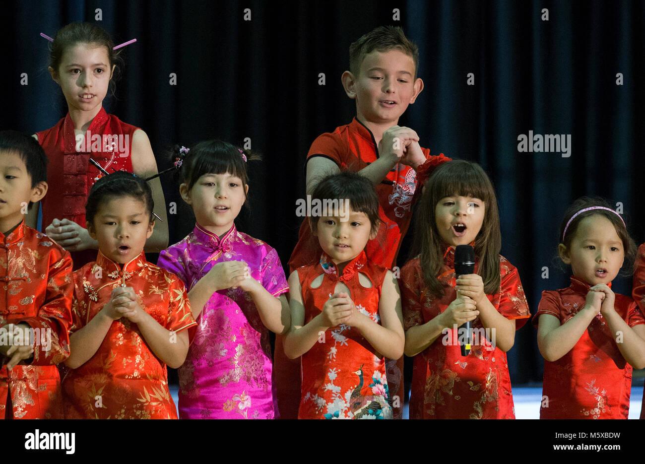 Houston, Texas, USA  26th Feb, 2018  Children sing Chinese