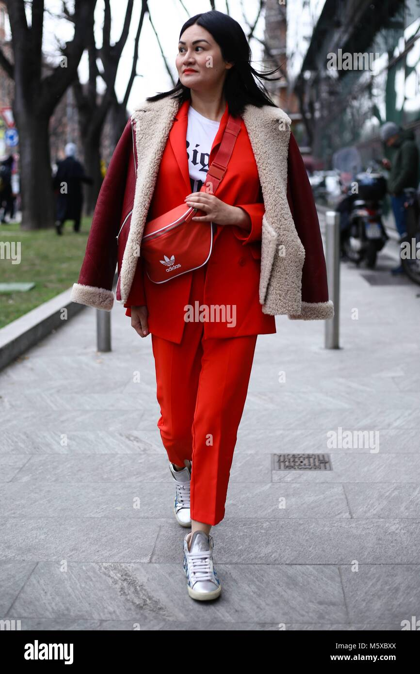 Alison Tay attending the Emporio Armani show during Milan Fashion Week -25-02-018  - Photo: Runway Manhattan/Valentina Stock Photo