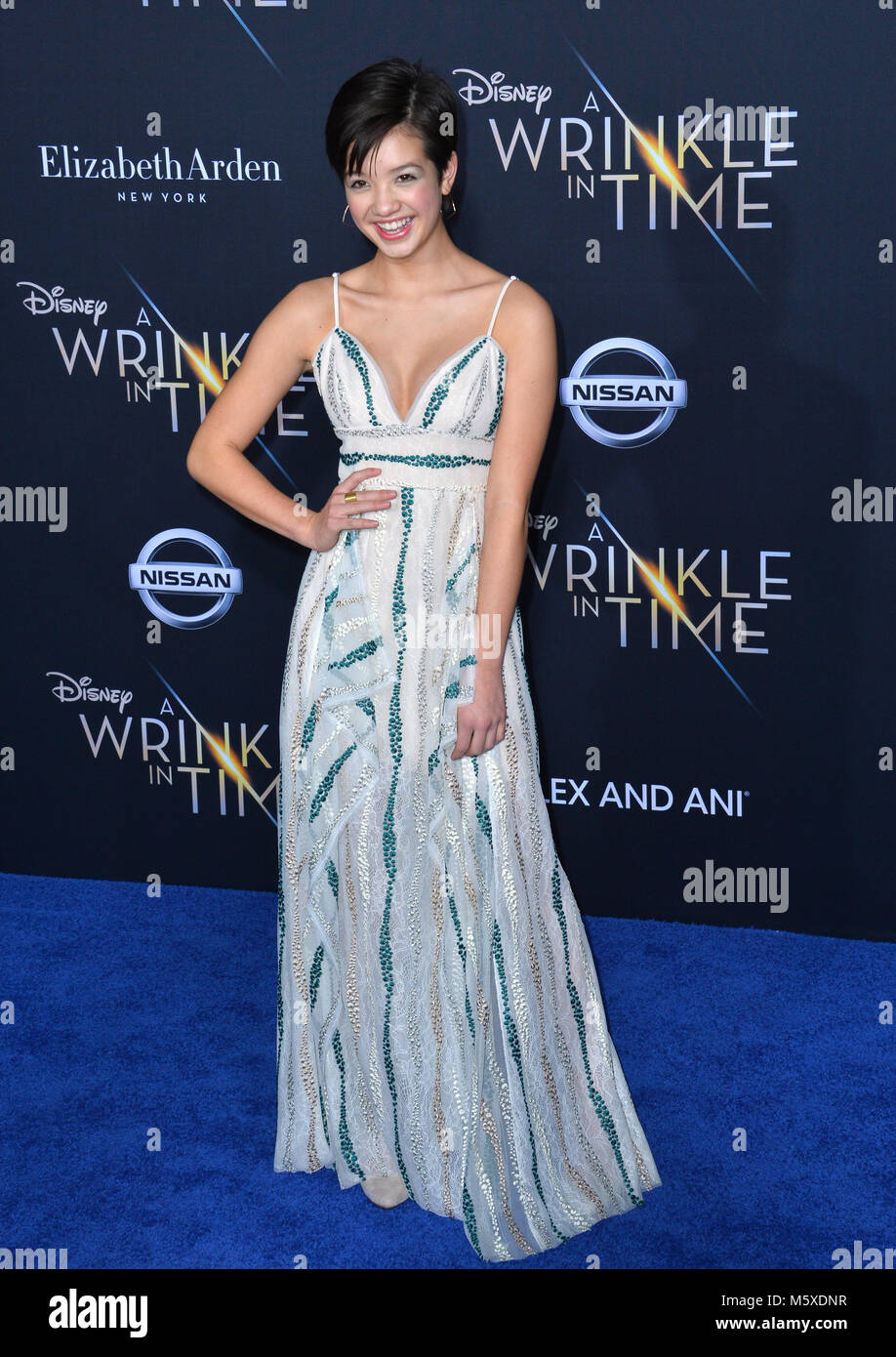 Los Angeles, USA. 26th Feb, 2018. Peyton Elizabeth Lee at the premiere for 'A Wrinkle in Time' at the El - Stock Image