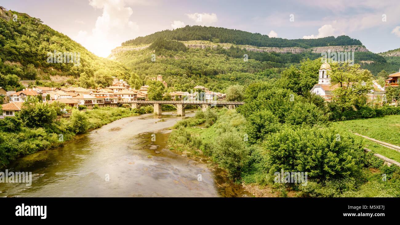 The Yantra River in the city of Veliko Tarnovo, Bulgaria Stock Photo