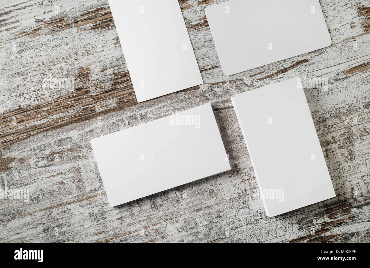 Blank business cards template on vintage wood table background Stock ...