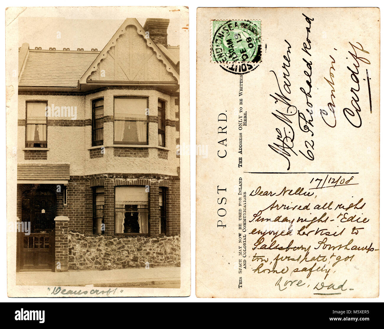 Old photograph of a middle of terrace house, 130 Ramuz Drive, Westcliff-on-Sea, Essex, England.  Photograph, dated Stock Photo