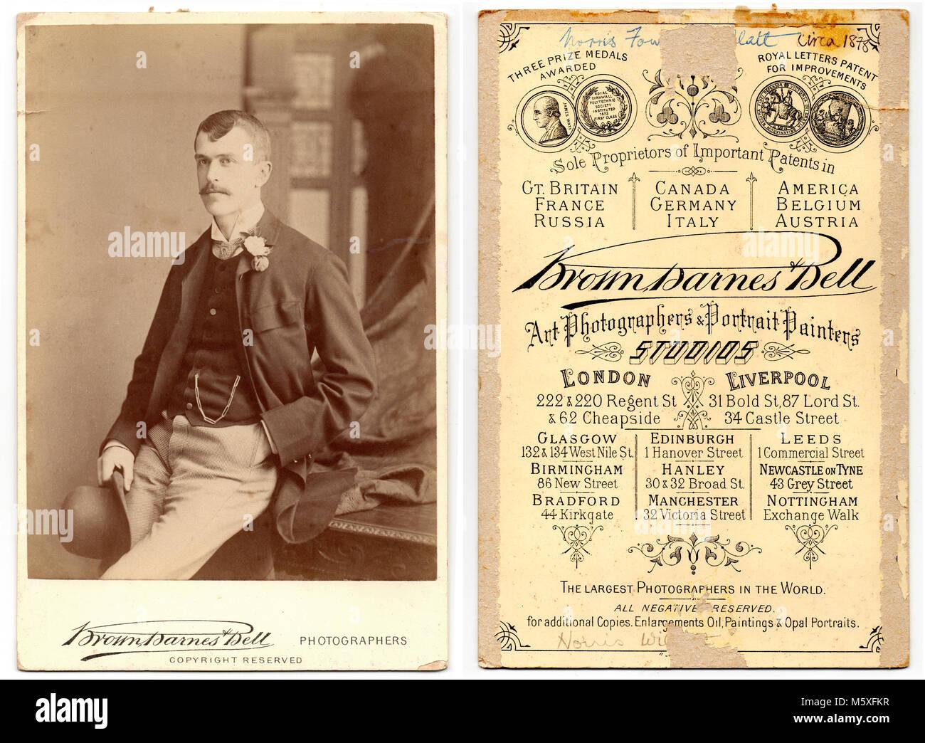 Double Sided Carte De Visite Victorian Studio Portrait Of Norris Fowler Willatt