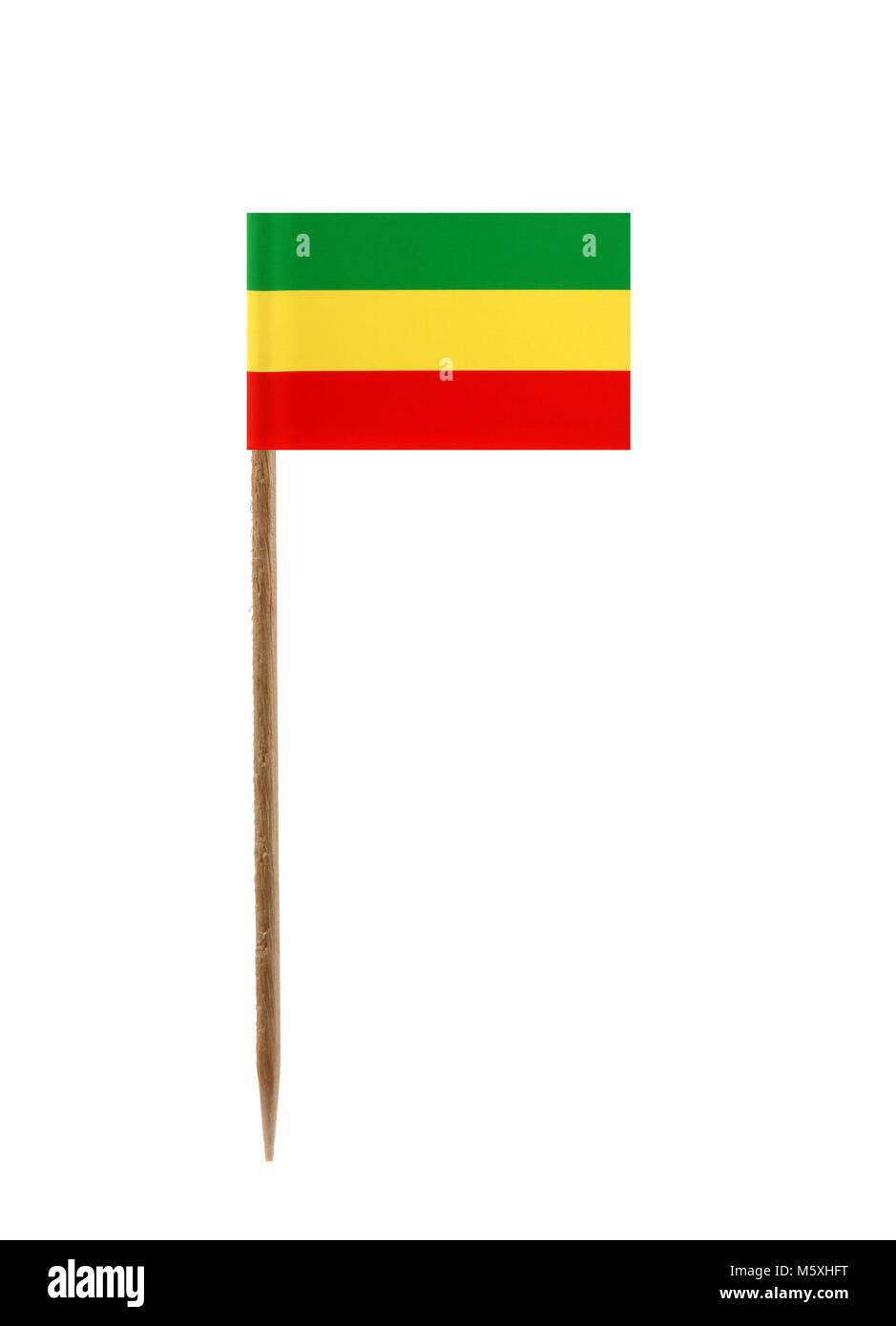 Tooth pick wit a small paper flag of Ethiopia - Stock Image