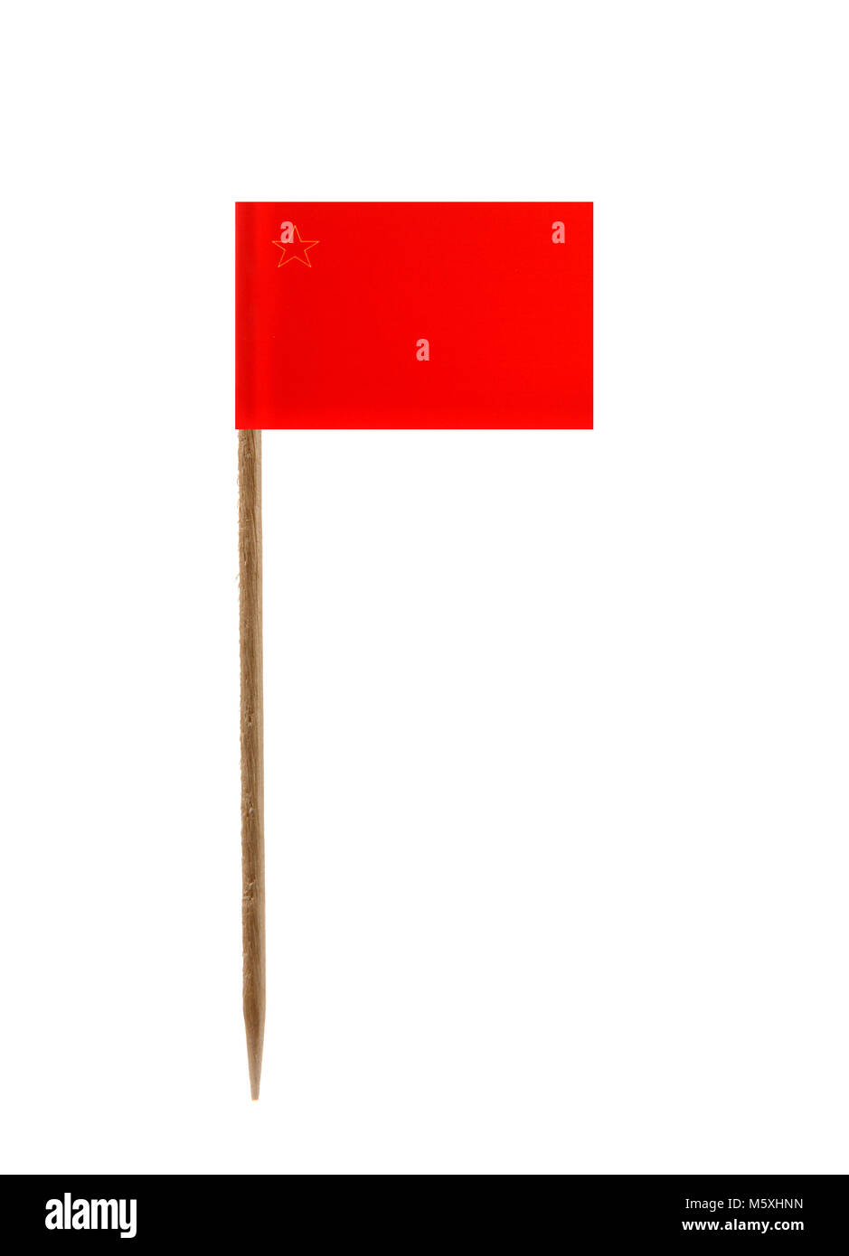 Tooth pick wit a small paper flag of Macedonia - Stock Image
