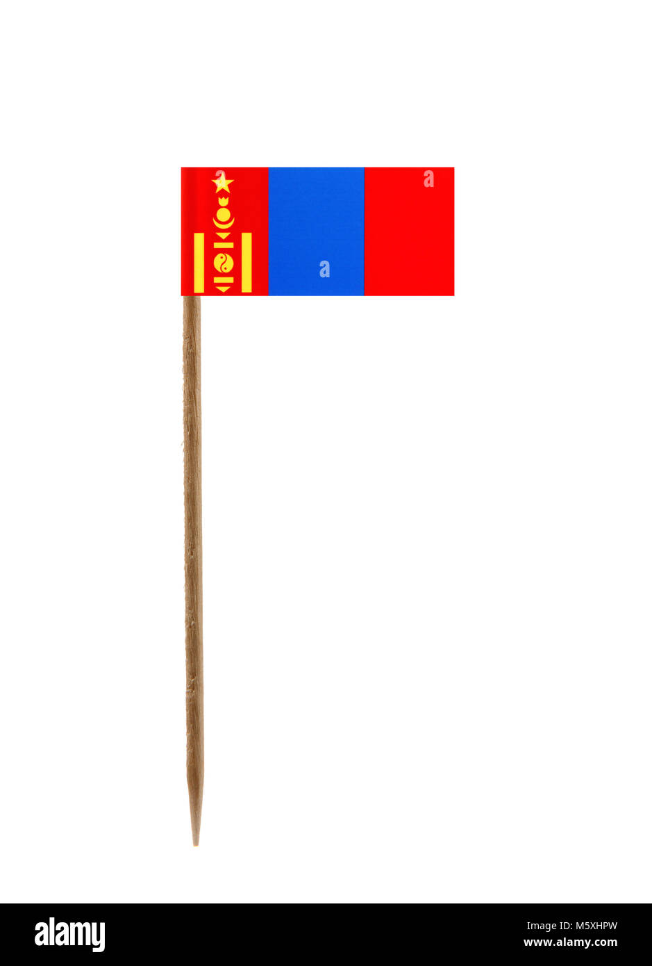 Tooth pick wit a small paper flag of Mongolia - Stock Image