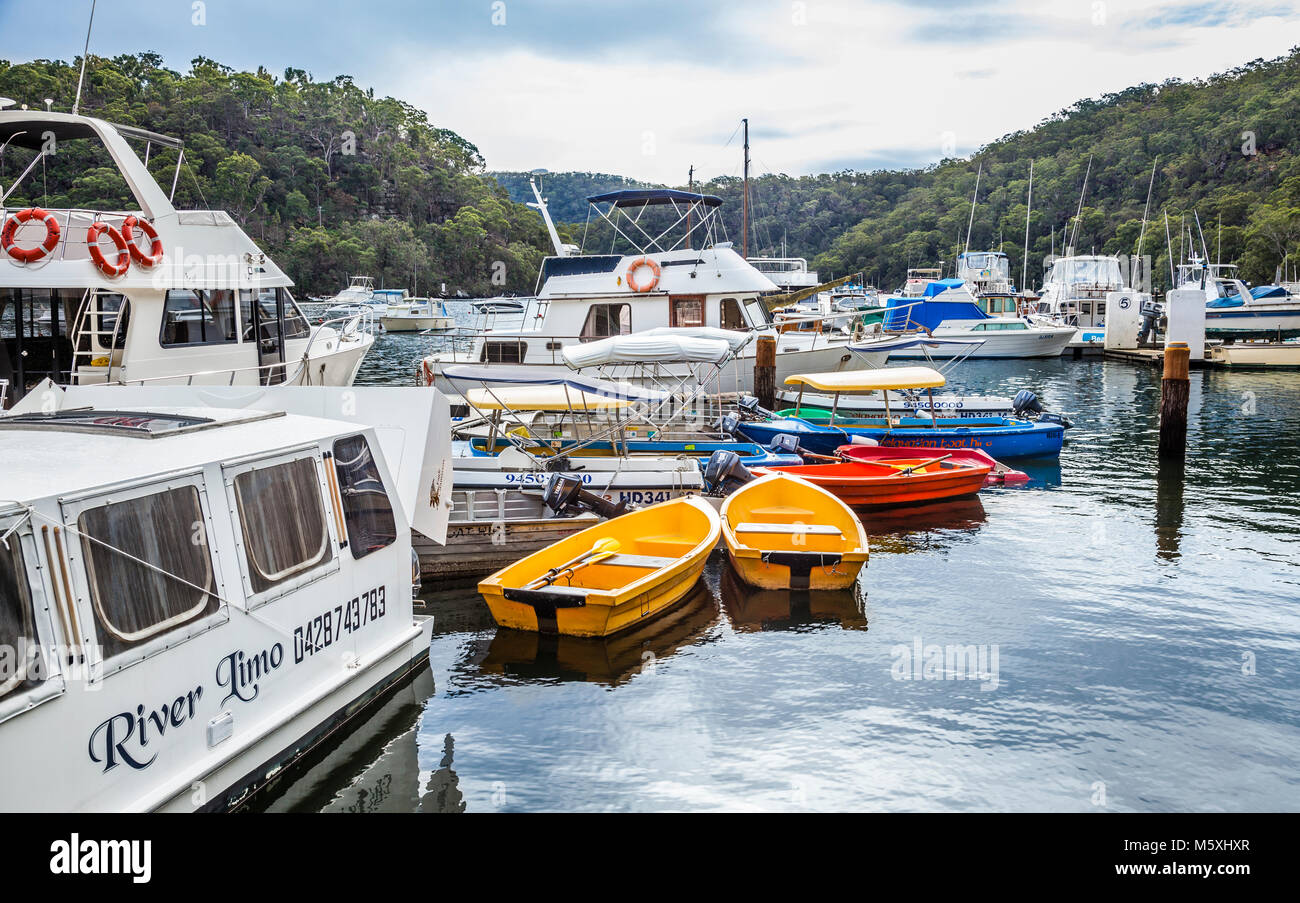 Australia, New South Wales, northern Sydney North Shore region, Berowa Creek, boat moorings at Franks Bight - Stock Image