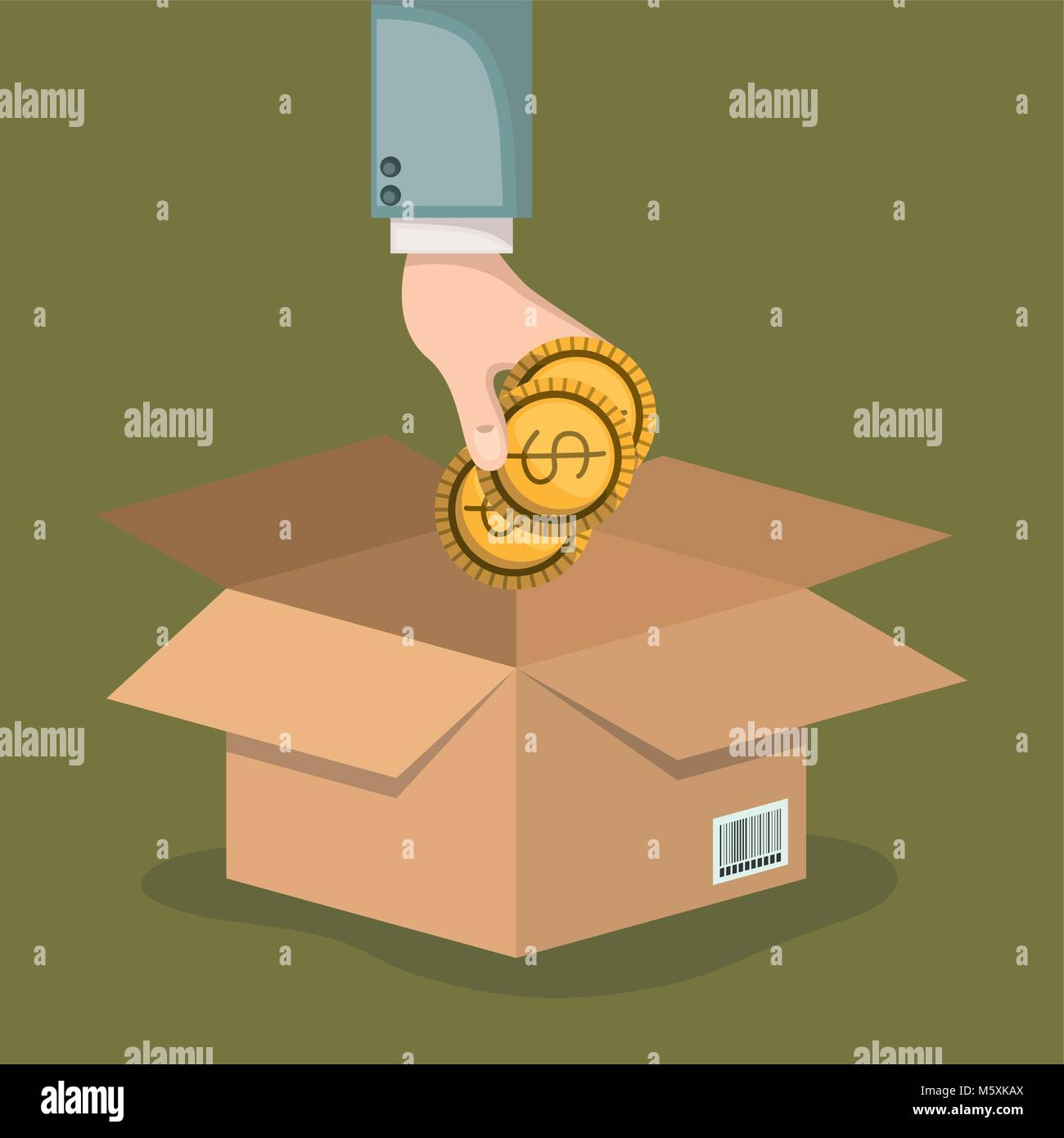 crowd funding poster with hand depositing coins in cardboard box in background olive color - Stock Image