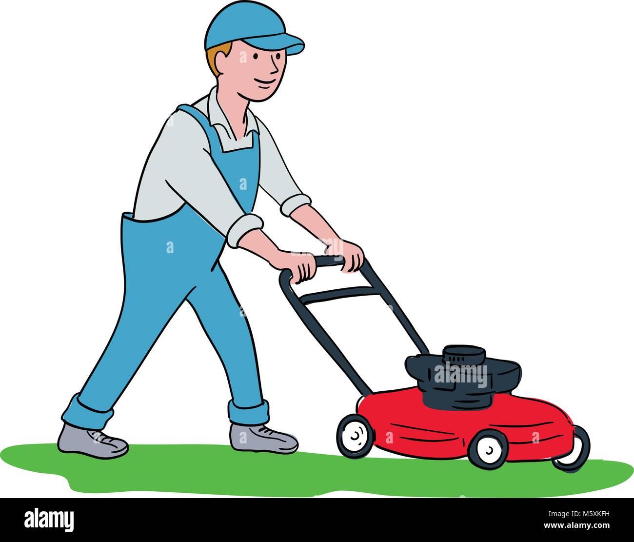 Cartoon Man On Mower : Lawn mower man gardener cartoon stock photos