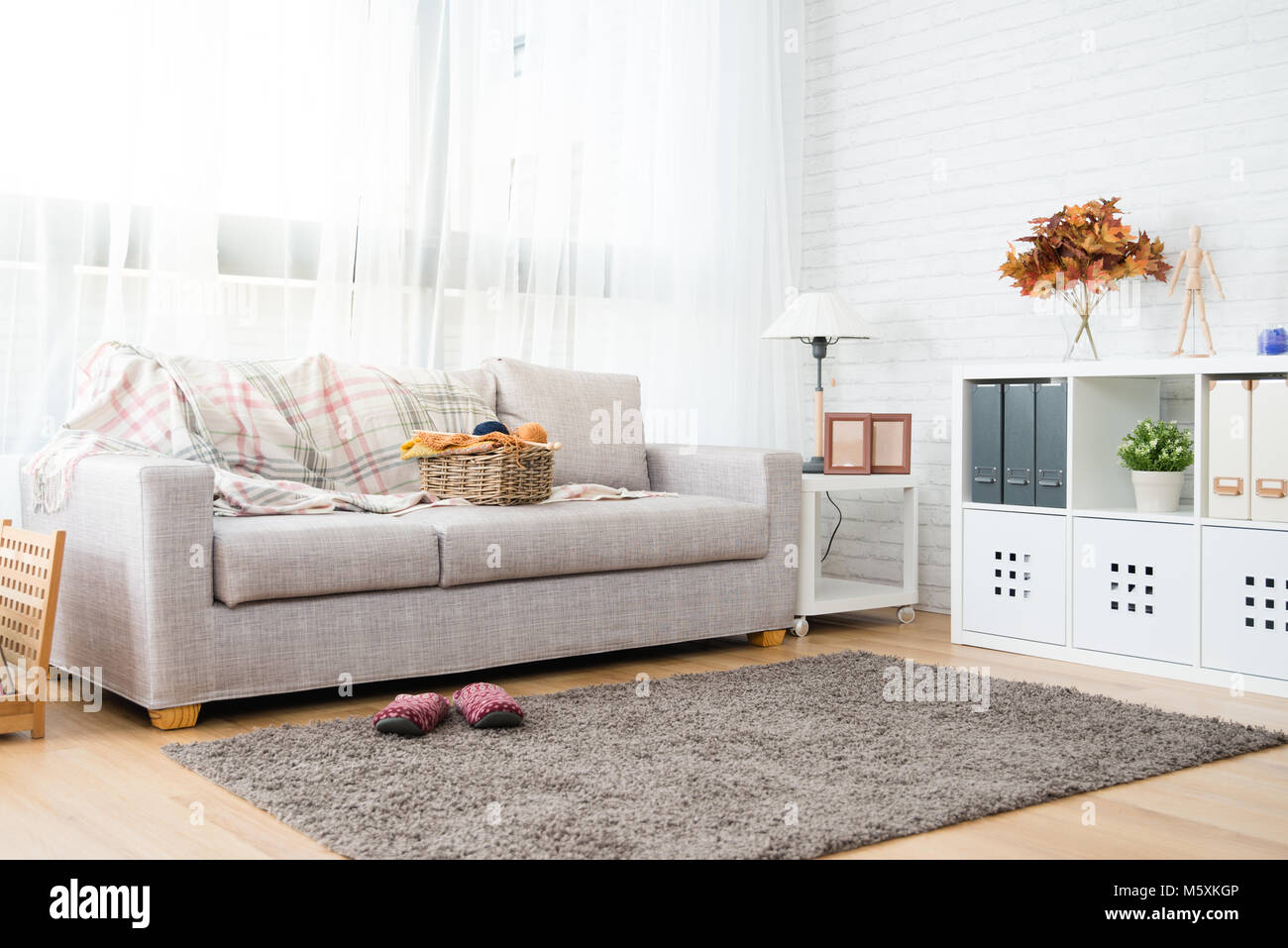 empty copy space autumn decoration living room with nobody no people ...