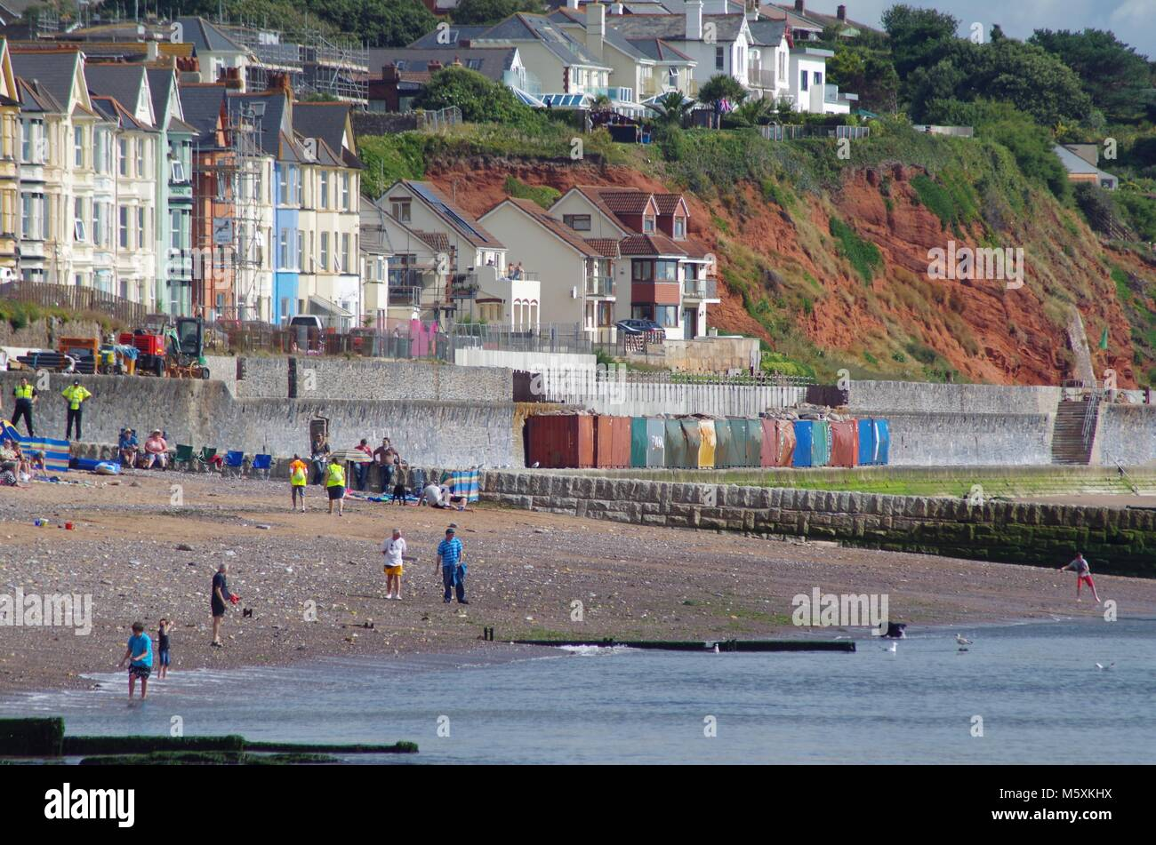 Repair Work on the Dawlish Riviera Line, Railway, after The Great Storm of 5th Feb 2014. Network Infrastructure - Stock Image