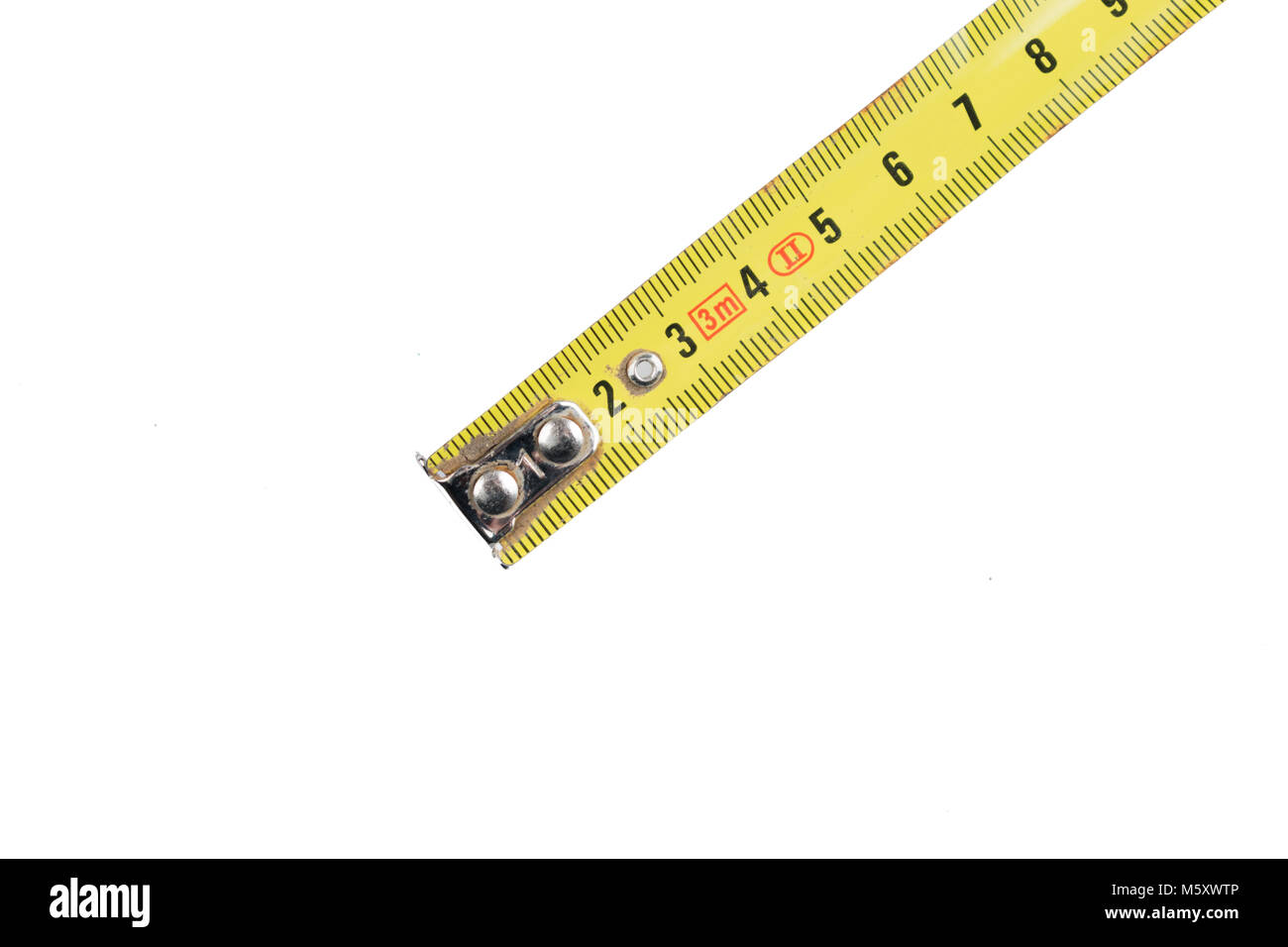 Yellow industrial Tape measure - Stock Image