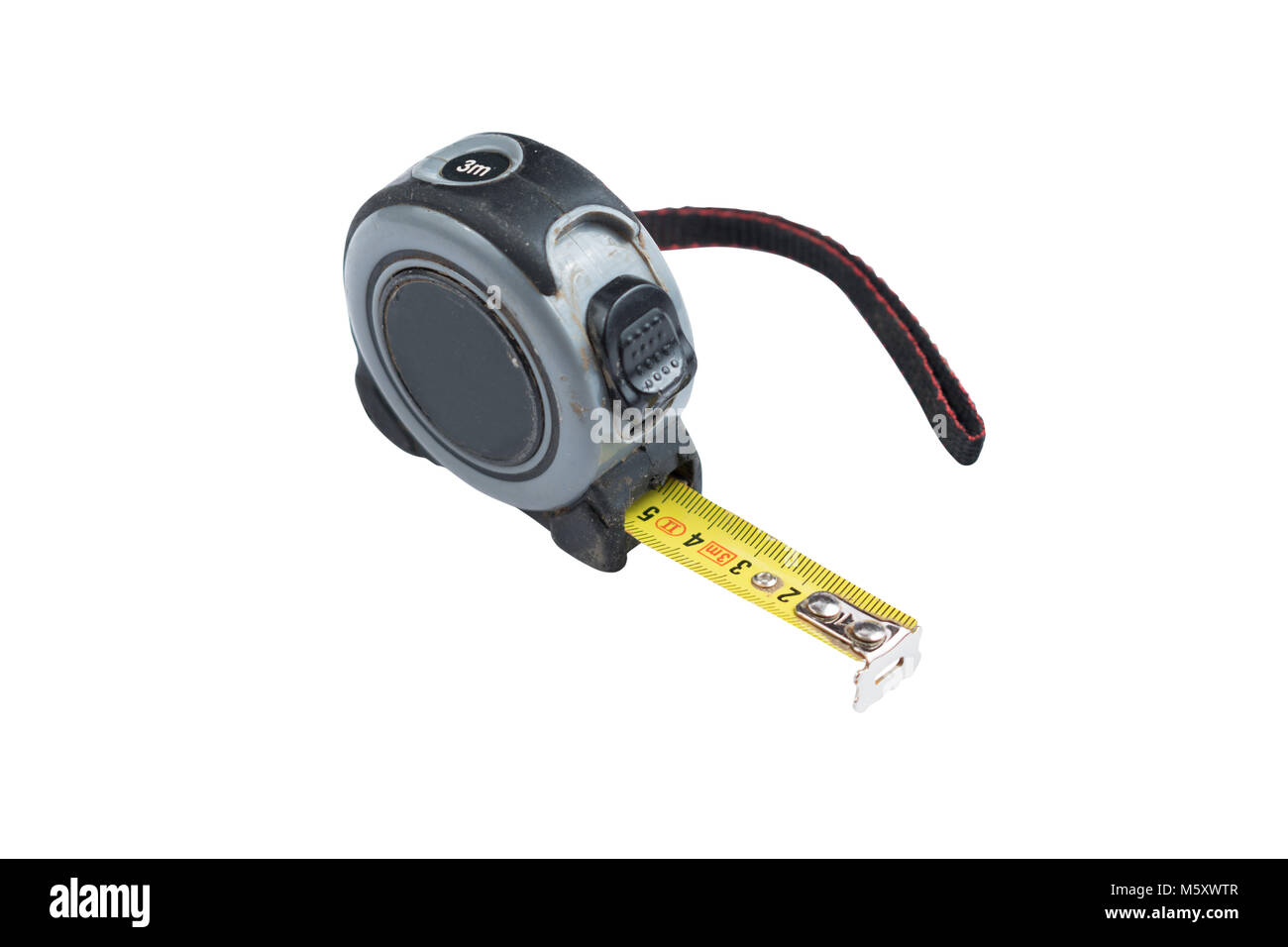 Yellow metal measuring tape in plastic grey case isolated on a white background. Path saved. - Stock Image