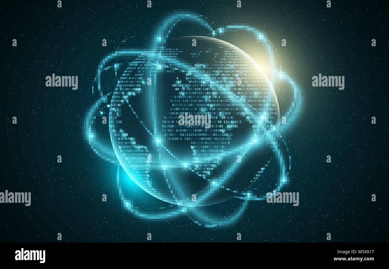 Abstract planet earth. World map from binary code. Glowing, blurry neon lines. Abstract background. Computer programming - Stock Image