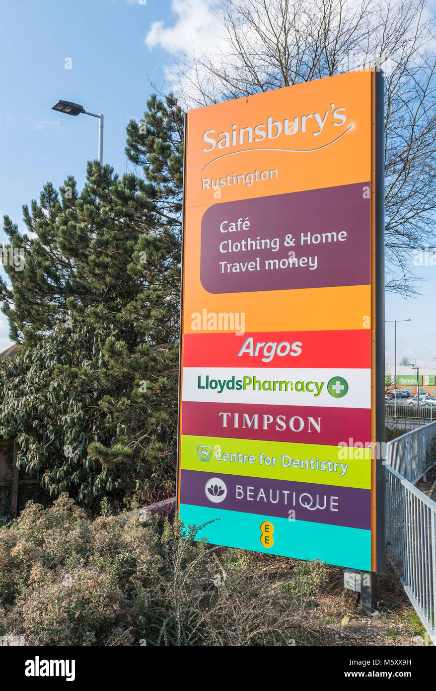 Large sign at the entrance to a British Retail park in Rustington, West Sussex, England, UK. - Stock Image