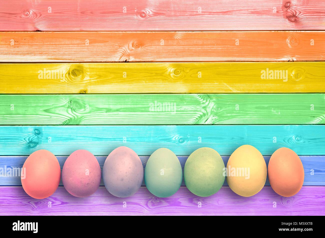 Pastel colorful rainbow painted wood planks background - Stock Image