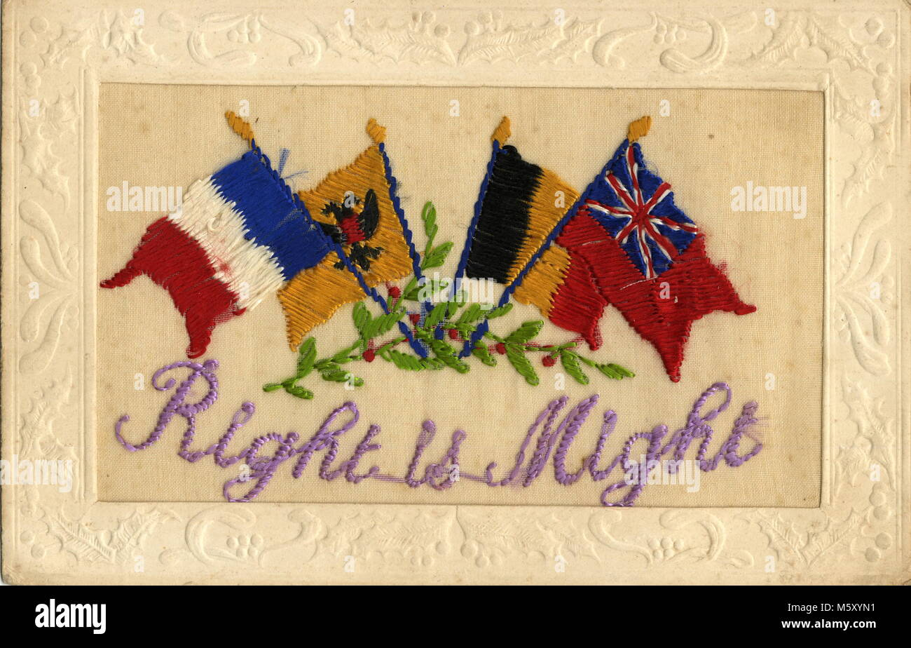 AJAXNETPHOTO. 1914-1918. WW1 EPHEMERA. - A SILK EMBROIDERED LETTER CARD DEPICTING NATIONAL FLAGS OF THE NATIONS - Stock Image