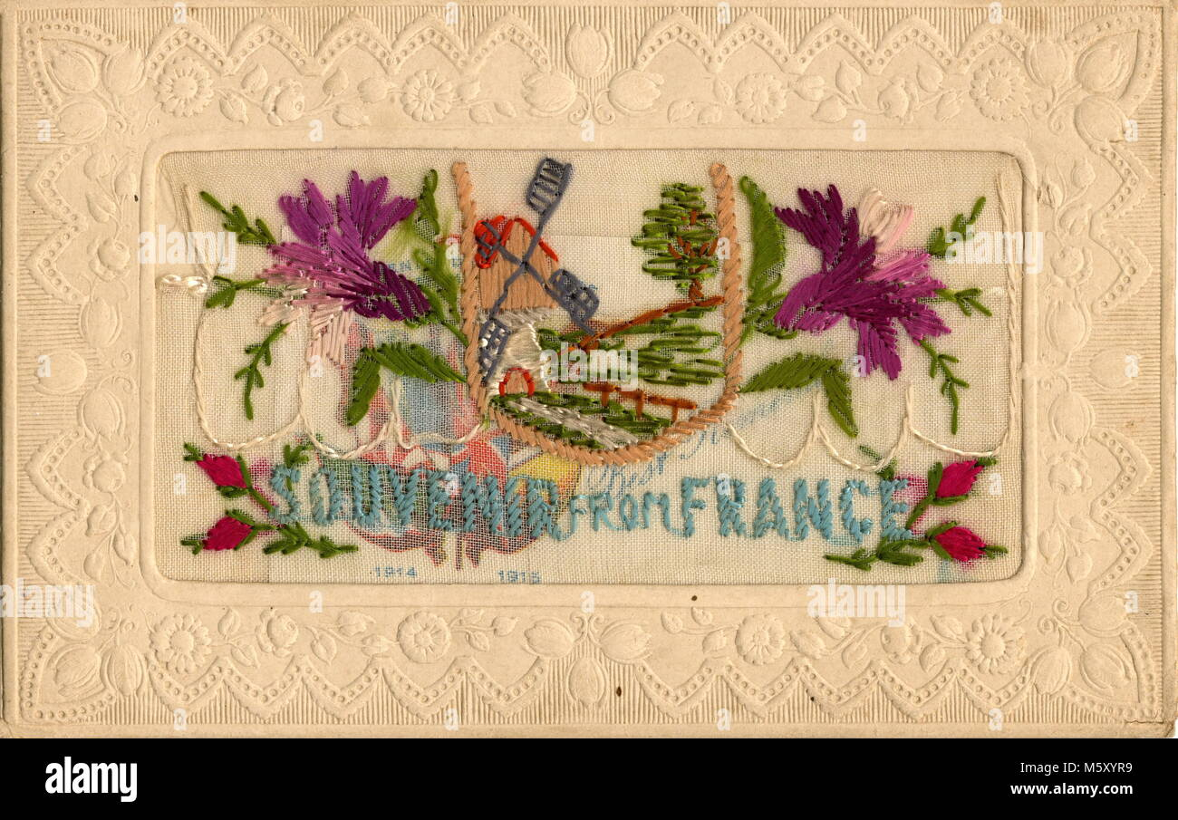 AJAXNETPHOTO. 1914-1918. WW1 EPHEMERA. - A SILK EMBROIDERED LETTER CARD DEPICTING A LANDSCAPE WITH A MILL SURROUNDED - Stock Image