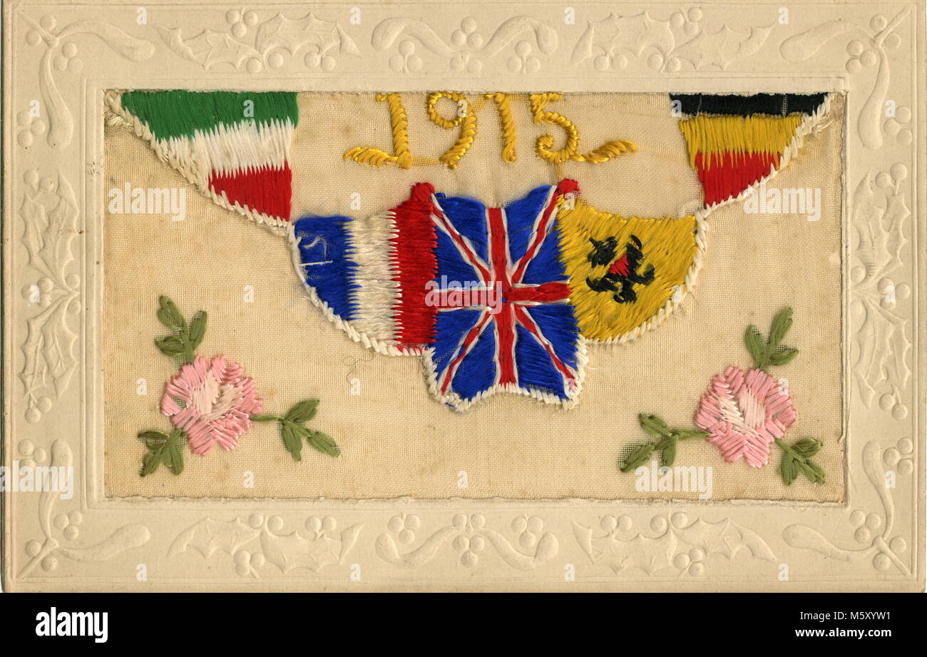 AJAXNETPHOTO. 1914-1918. WW1 EPHEMERA. - A SILK EMBROIDERED LETTER CARD DEPICTING NATIONAL FLAGS OF THE ALLIES WITH - Stock Image