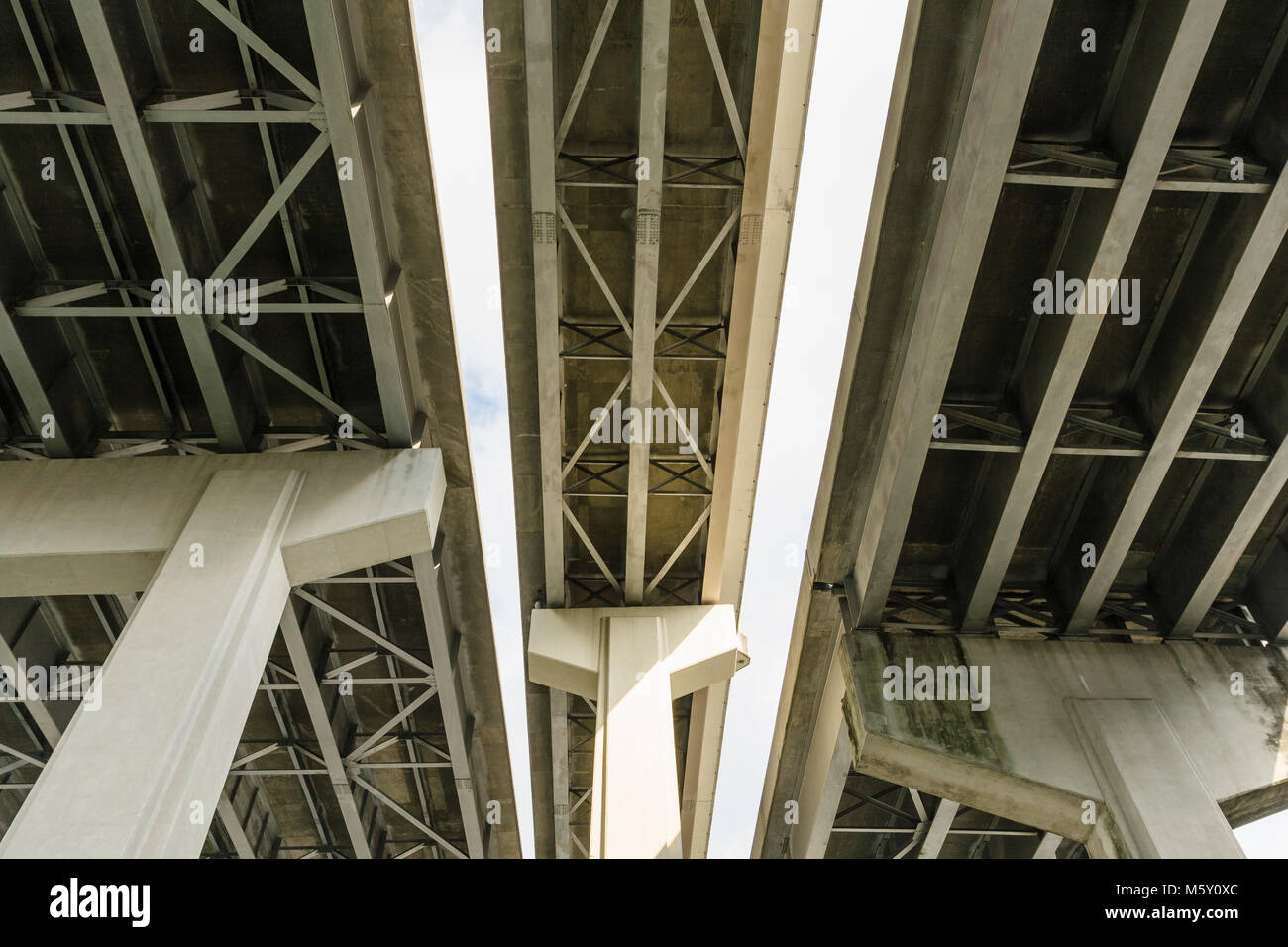 Three overpasses / flyovers / road bridges in downtown New Orleans, Louisiana. - Stock Image