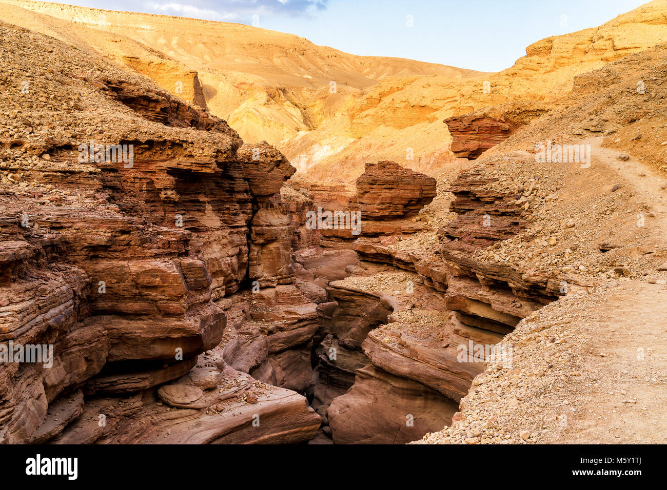 Waved and layered rocks of Red canyon formed and eroded by water. Nature reserve near Eilat city, Negev desert in - Stock Image