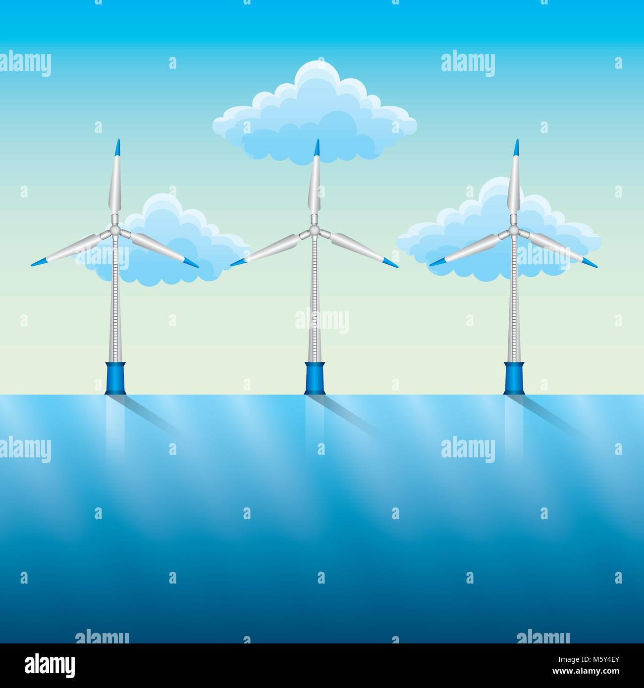 windmills and power by the river blue sky Stock Vector