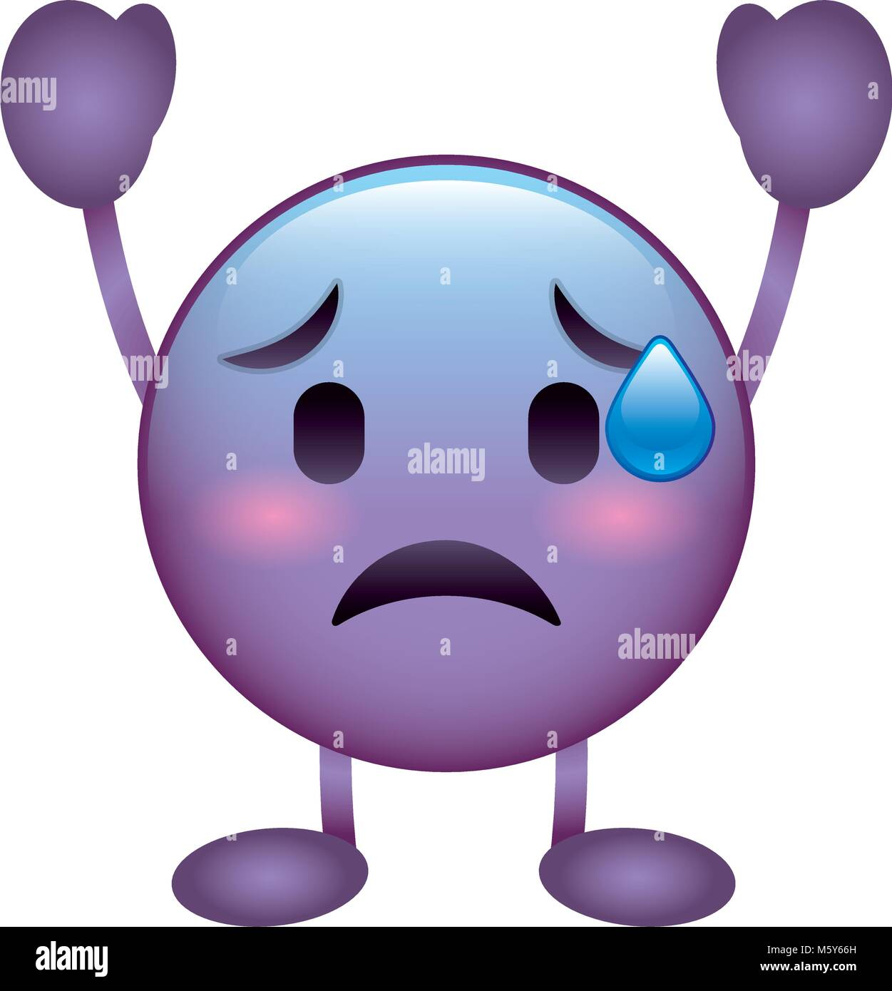 purple emoticon cartoon face depressive character - Stock Vector