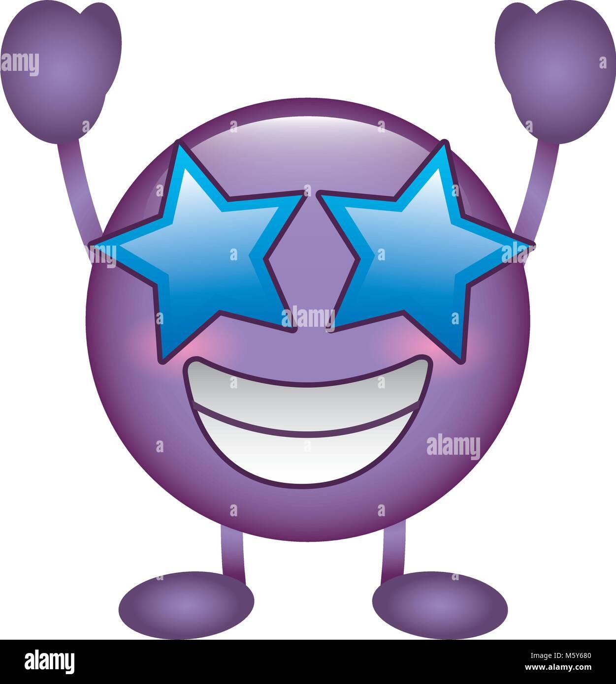 purple emoticon cartoon face happy star eyes character Stock