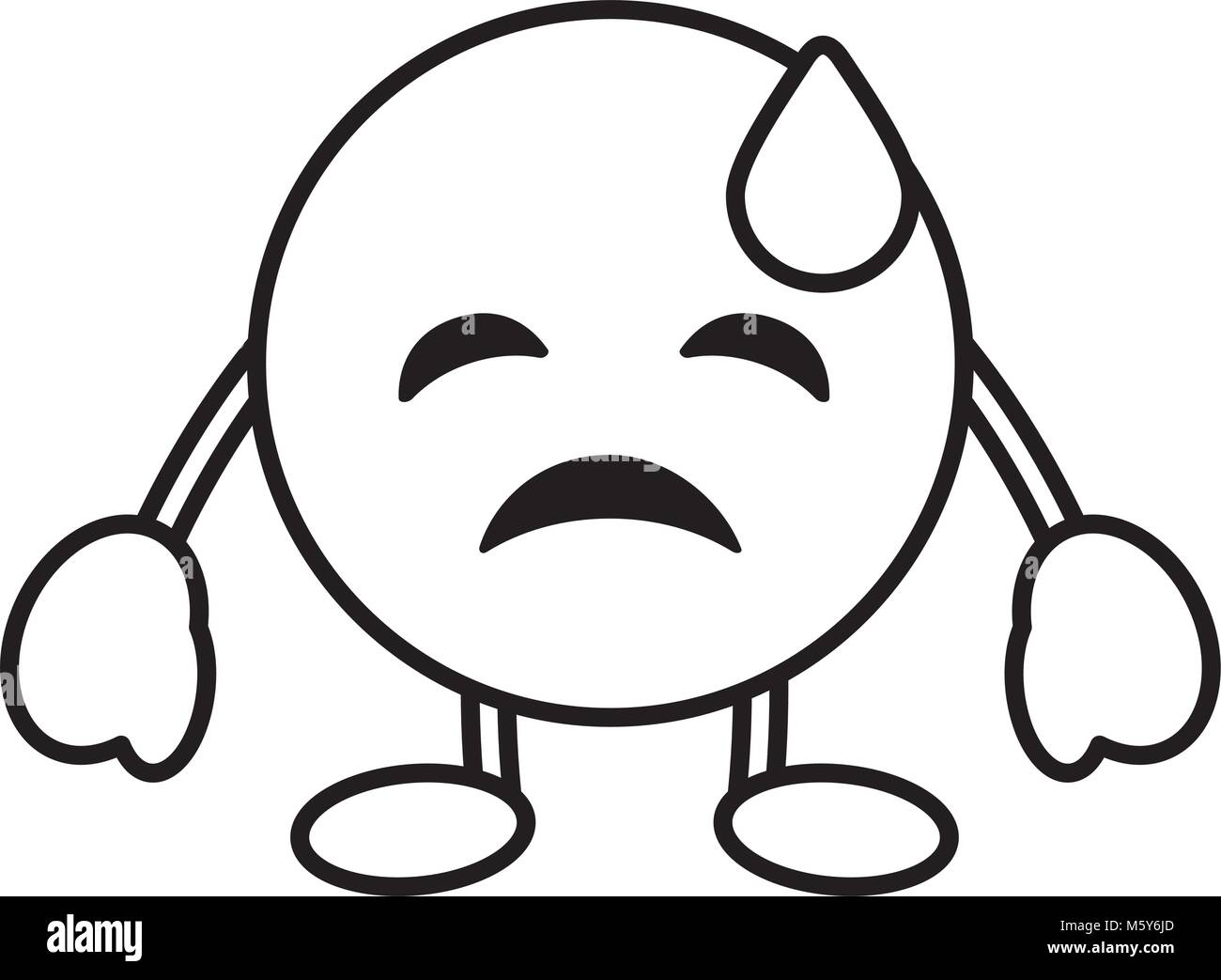 emoticon cartoon face depressive tear character - Stock Vector