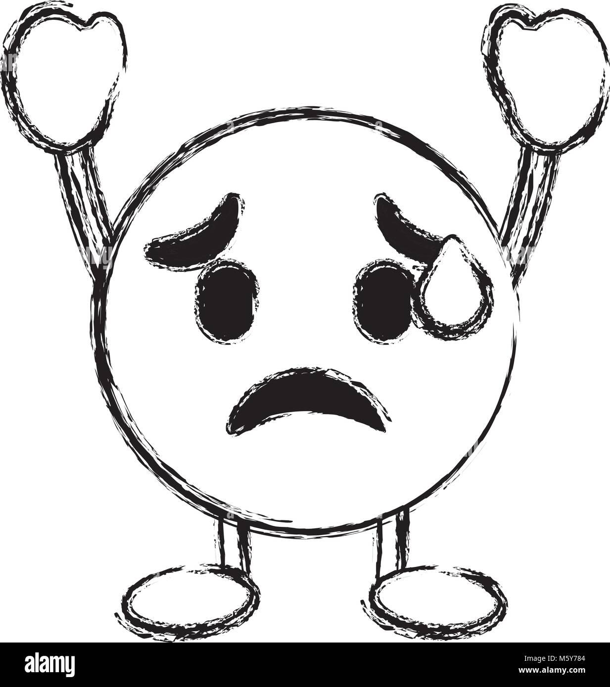 emoticon cartoon face depressive character - Stock Vector