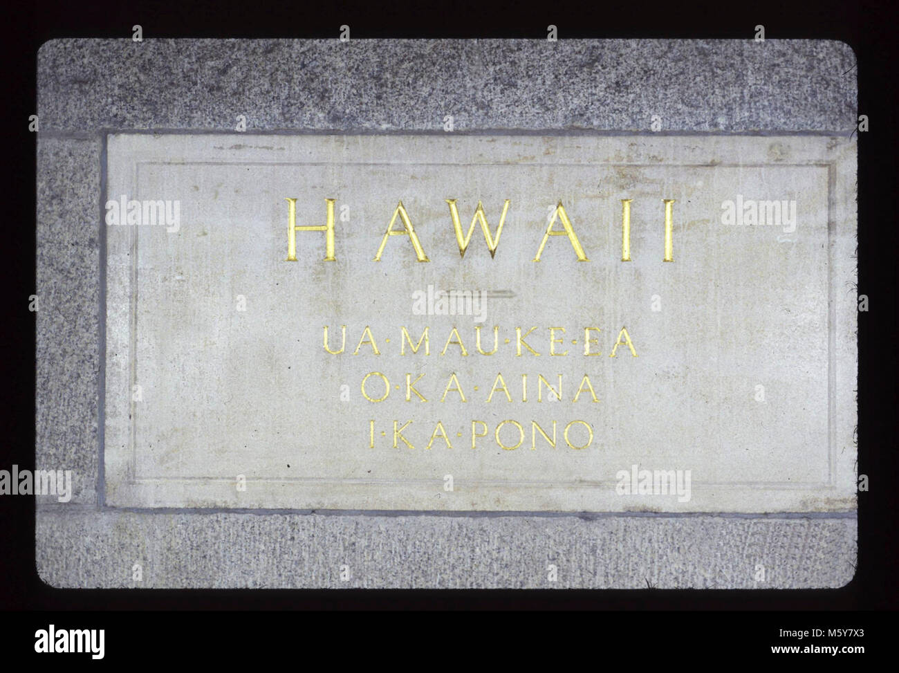 Hawaii Level: 360-ft Donor: State of Hawaii Dates: 1935/1936 Original materials: coral sandstone, resin fills, gold - Stock Image