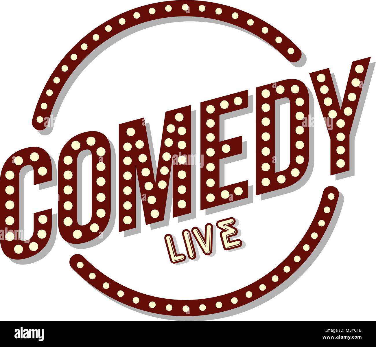 stand up comedy neon sign lamp vector art illustration Stock