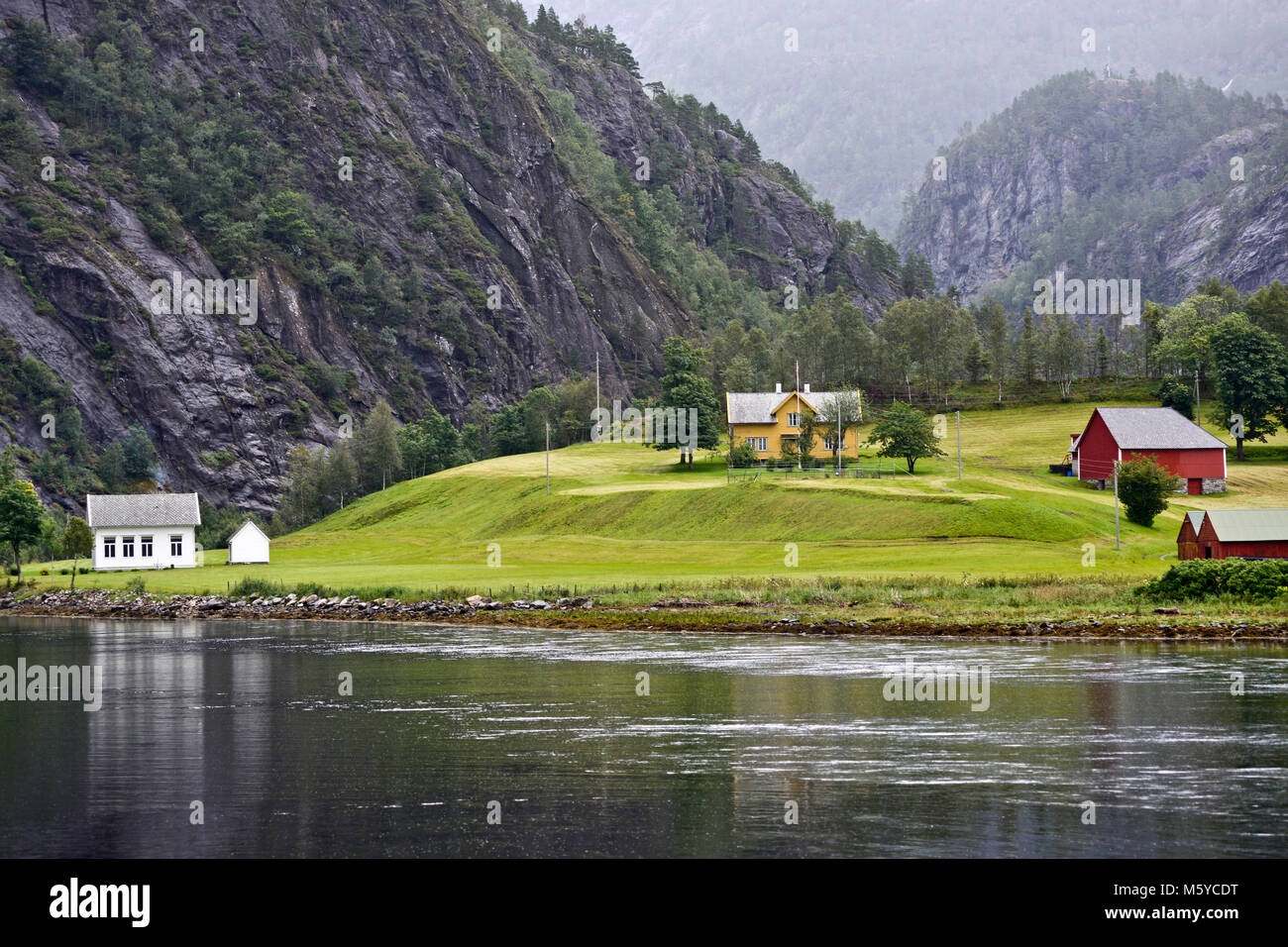 Country houses in Sognefjorden, Norway - Stock Image